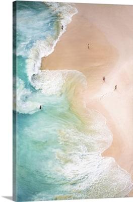 Aerial View Of Some People Kelingking Beach, Nusa Penida, Indonesia During Sunset