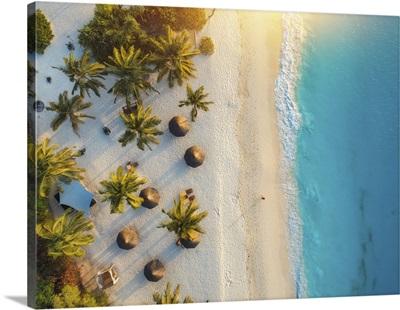 Aerial View Of Umbrellas And Palms On Indian Ocean Beach At Sunset, Zanzibar, Africa