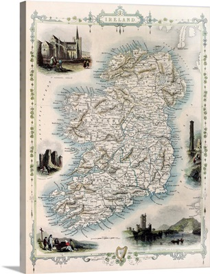 Antique Map of Ireland, Published In the Illustrated Atlas, London, 1851