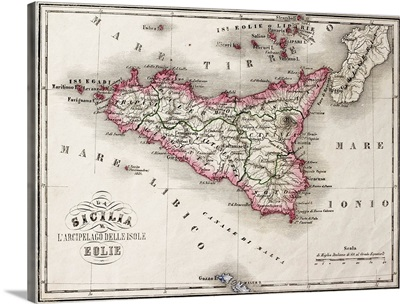 Antique old map of Sicily and little islands around it, 1860