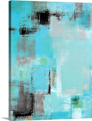 Aside - Modern grey and blue abstract painting