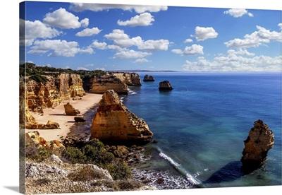 Beach And Cliffs Of Marinha In Lagoa, Algarve, Portugal