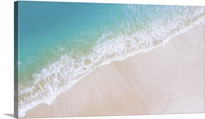 Beach Top View Or Aerial View With Shade Emerald, Blue Water And Wave Foam, Soft Focus