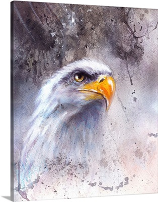 Beautiful Painting Of A Bald Eagle Head Against An Abstract Background