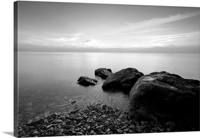 Black And White Beach In The Evening