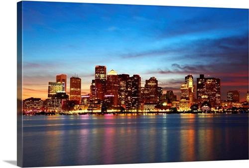 Boston Skyline At Night Massachusetts Wall Art Canvas Prints Framed Prints Wall Peels Great Big Canvas