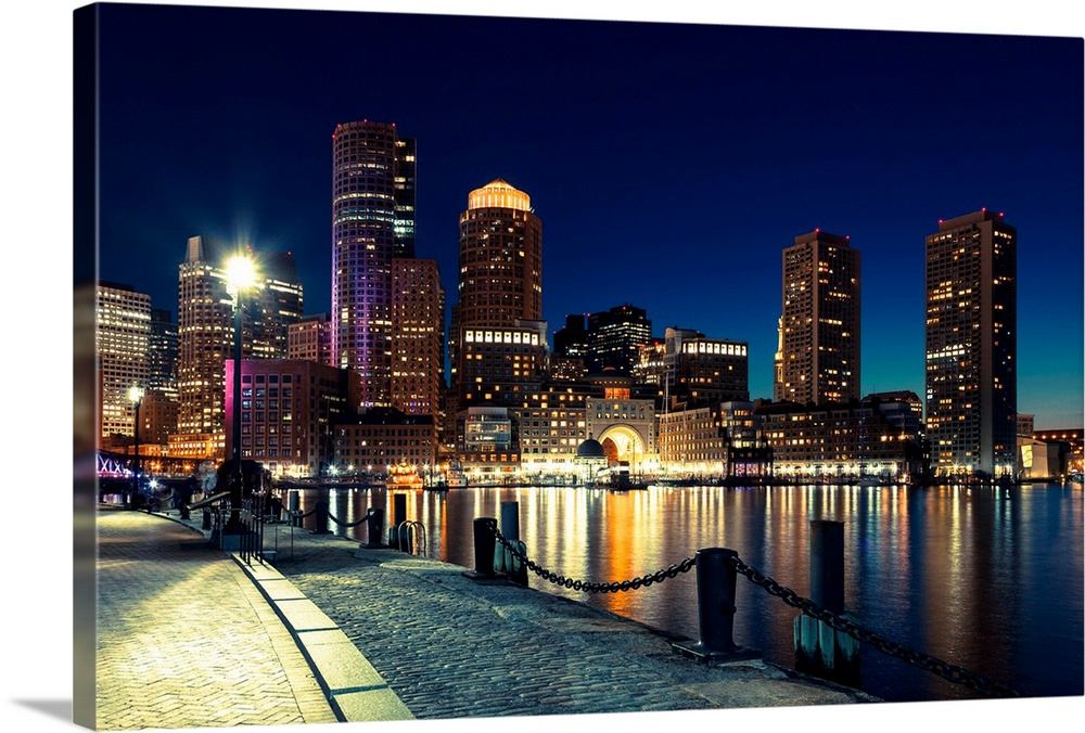 Boston Skyline By Night Massachusetts Wall Art Canvas Prints Framed Prints Wall Peels Great Big Canvas