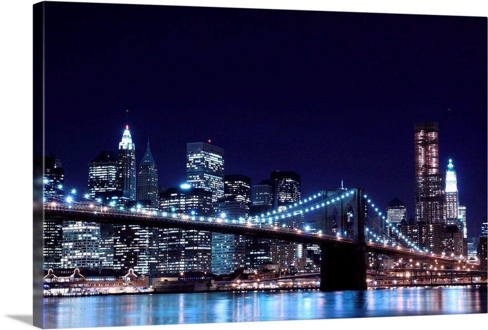 Brooklyn Bridge And Manhattan Skyline At Night New York City Wall Art Canvas Prints Framed Prints Wall Peels Great Big Canvas