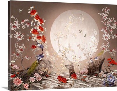 Chinoiserie Style Picture With Abstract Birds And Plants