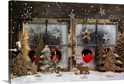 Christmas Window Decoration In Red With Wood