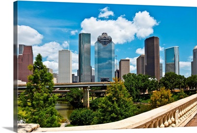 Cityscape of the downtown Houston Texas skyline on a clear summer day