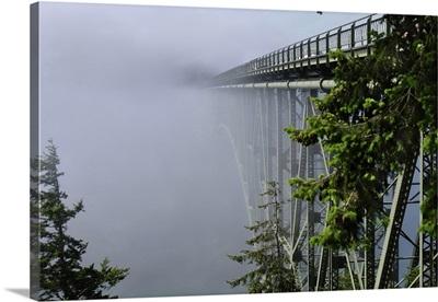Deception Pass Bridge In Fog, Seattle, Washington