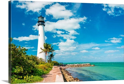 Famous lighthouse at Cape Florida, Key Biscayne