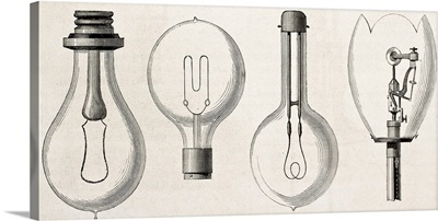Four kinds of lamp: Edison, Maxim, Swan, and Werdermann