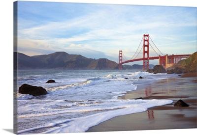 Golden Gate Bridge At Sunset Seen From Marshall Beach, San Francisco