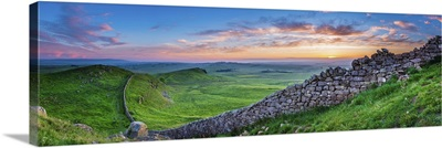 Hadrian's Wall Panorama At Sunset, Northumberland National Park