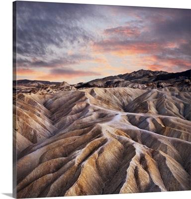 Heavily Eroded Ridges At Zabriskie Point, Death Valley National Park, California
