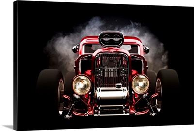 Hot rod with smoke background