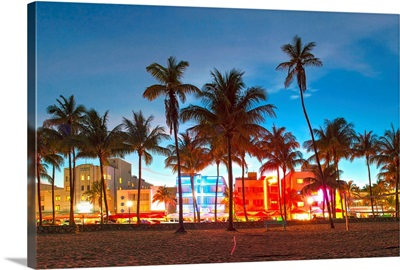 Hotels and Restaurants at Sunset, Miami Beach, Florida