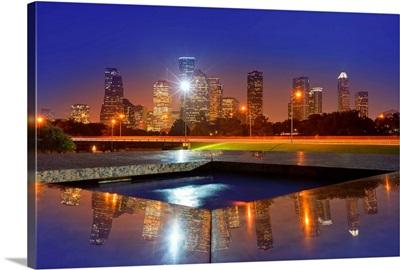 Houston skyline at sunset from Memorial park