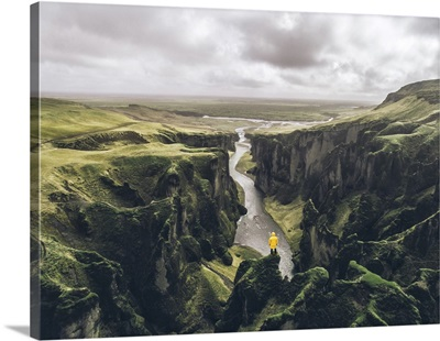 Icelandic Green Hills And Panoramas, Fjadrargljufur Canyon