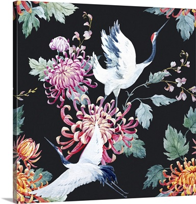 Japanese Red Head Crane And Chrysanthemum Flowers