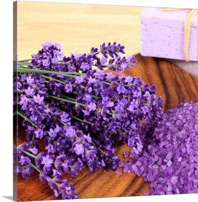 Lavender laying on a wooden surface