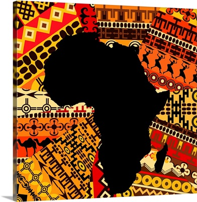 Map of Africa on Traditional Patterns