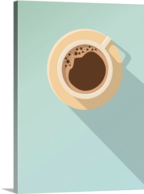Minimal Design Poster, Cup Of Coffee On A Light Background, Top View