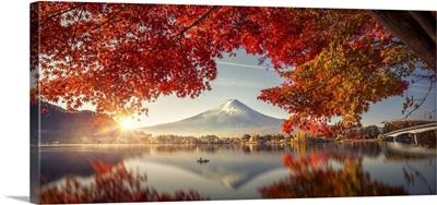 Mountain Fuji With Morning Fog And Red Leaves At Lake Kawaguchiko