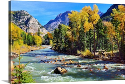 Mountain River And Colorful Mountains Of Colorado