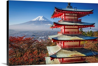 Mt. Fuji and Pagoda during the fall in Japan.