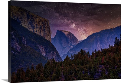 Night Sky With Yosemite National Park And Trees