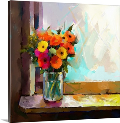 Oil painting of a flowers in a glass vase on a window sill
