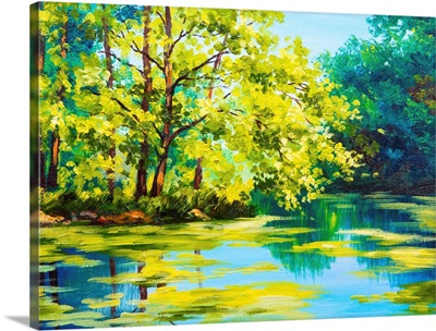 Oil painting of a lake in a forest