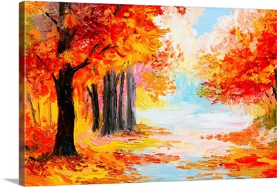 Oil painting of a landscape in autumn foliage