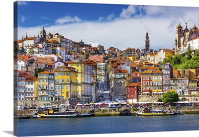 Old Town Skyline From Across The Douro River, Porto, Portugal