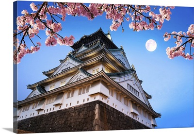 Osaka Castle With Cherry Blossoms And Moon, Japan
