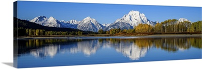 Panorama Of Oxbow Bend In Grand Tetons National Park, Wyoming