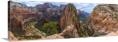 Panoramic Of Zion Canyon Seen From The Angels Landing Trail, Zion National Park, Utah