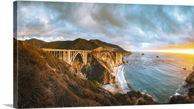 Panoramic View Of Bixby Creek Bridge Along Highway 1, Monterey County, California