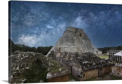 Pyramid Of The Magician In Uxmal Ruins, Yucatan, Mexico