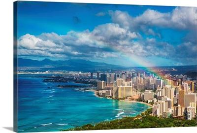 Rainbow over Honolulu, Hawaii skyline.