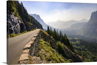 Road And Tunnel With Valley View, Glacier National Park