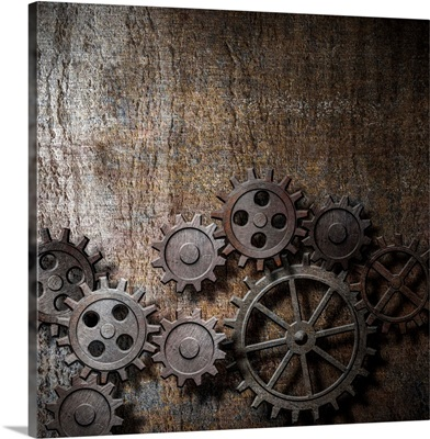 Rusty Gears And Cogs On A Metal Background
