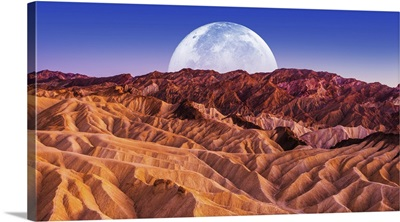 Sandstones Landscape And The Moon, Death Valley National Park Badlands, California