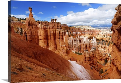 Scenic View Of Stunning Red Sandstone Hoodoos In Bryce Canyon National Park, Utah