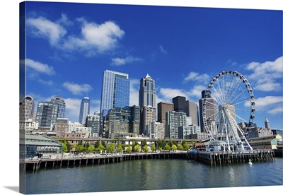 Seattle Ferris Wheel, Skyline, And Waterfront Sunny Day With Blue Sky And Clouds