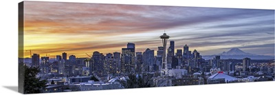 Seattle Skyline And Mt Rainier As Seen From Kerry Park At Sunrise