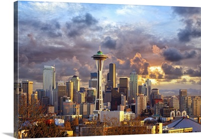 Seattle Skyline At Sunset, WA